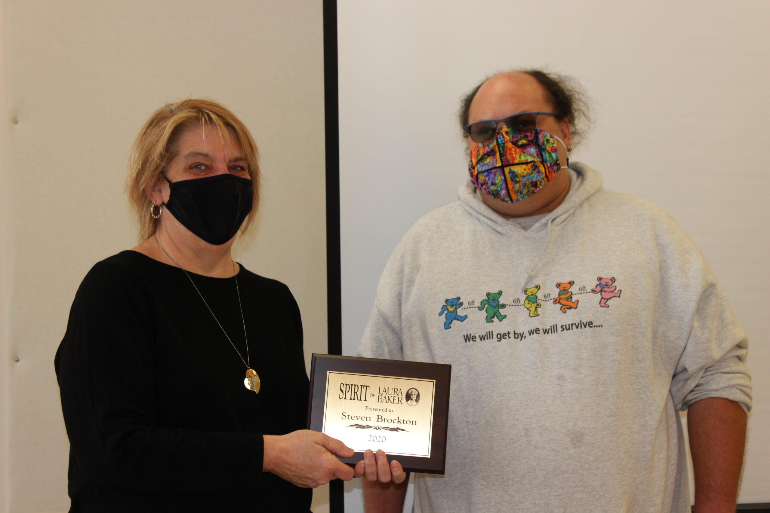 Sandi Gerdes and Steve Brockton, Steve receives Spirit of Laura Baker Award