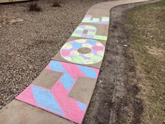 Sidewalk chalk word Hope